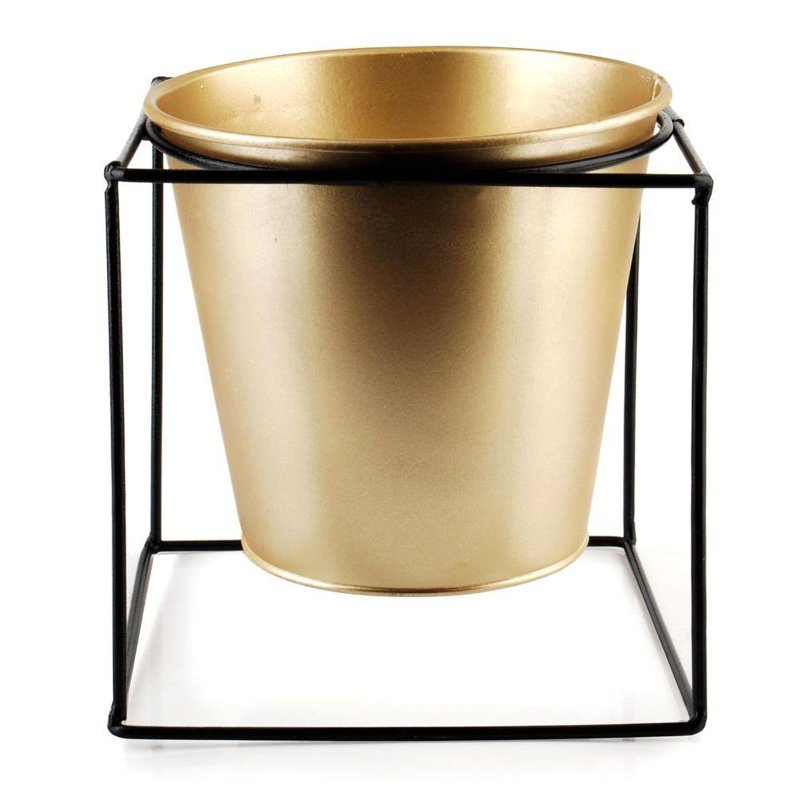 ORION Cover POT metal on stand black gold 14x14 cm