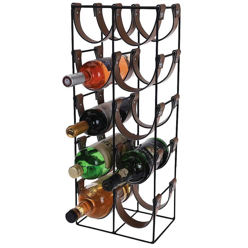 ORION Flaschenständer WEINREGAL Weinflaschenhalter aus Metall und ökologischem Leder schwarz für 10 Flaschen