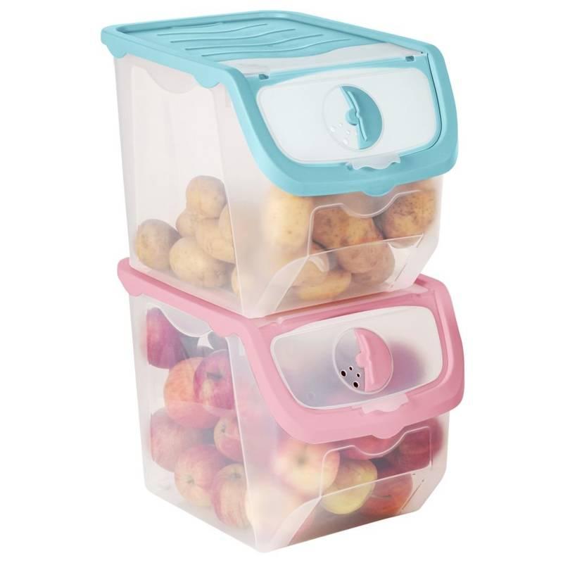 ORION Behälter Vorratsdose für Gemüse, Obst, Zwiebeln, Kartoffeln 12 L pink