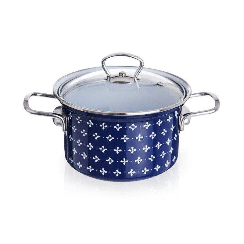 ORION Emaille-Topf / emaillierter Topf mit Deckel 16cm 2,1l SOFIA
