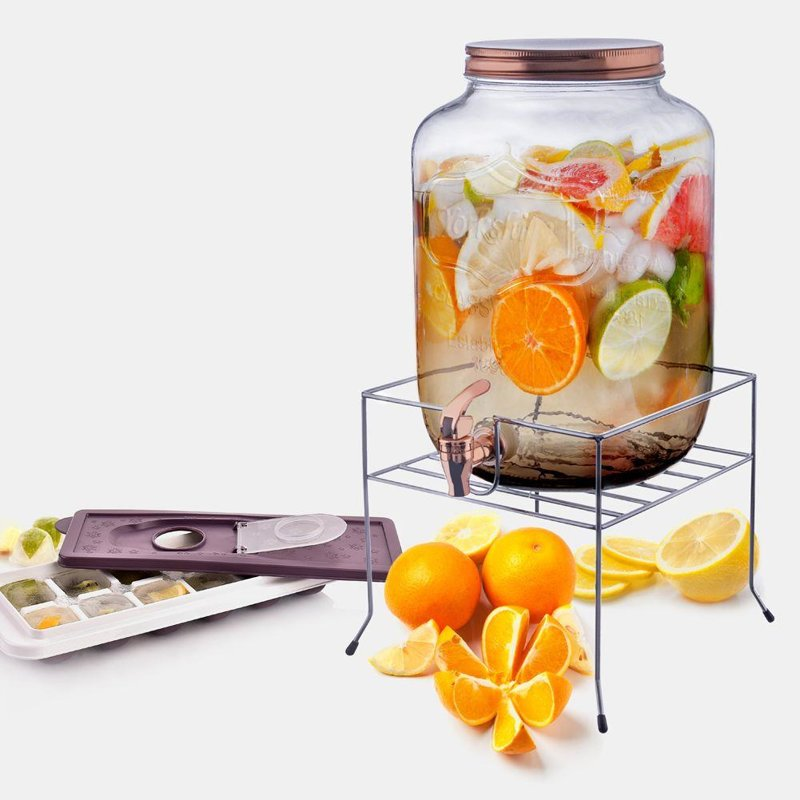 ORION Glasfass Getränkespender mit Zapfhahn für Limonade Getränke 8,8l