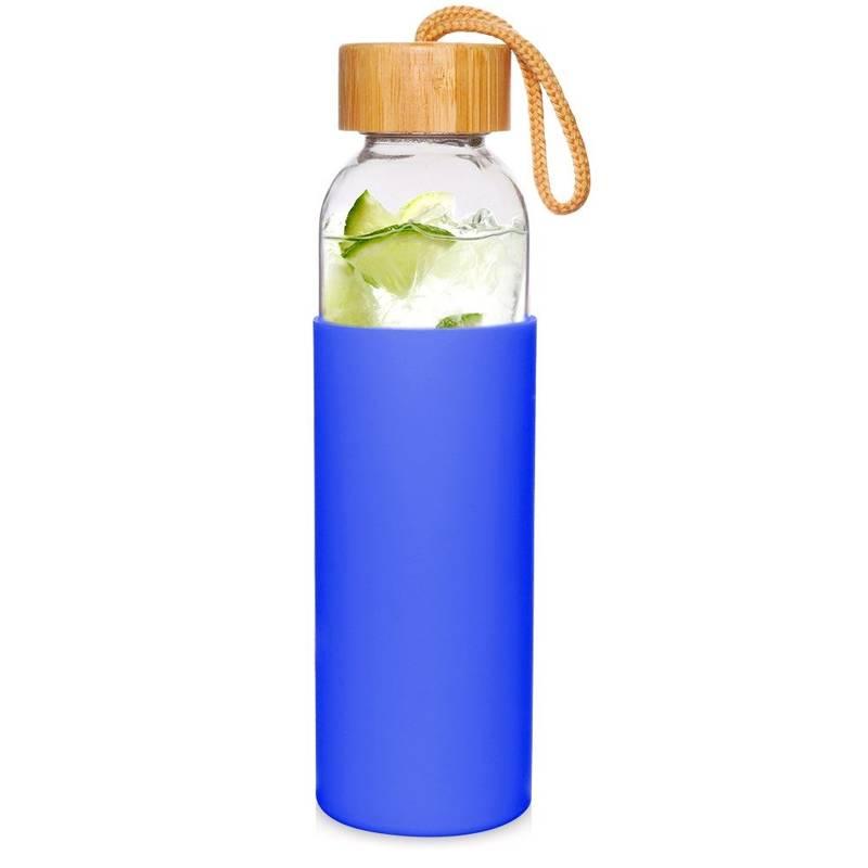 ORION Glasflasche TRINKFLASCHE aus Glas Silikon für Wasser Saft Limonade Smoothie 0,5l in Blau mit Schnurschlaufe