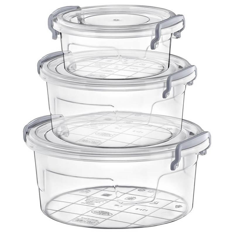 ORION Lebensmittelbehälter mit Deckel RUND / Aufbewahrungsboxen SET 3 Stück