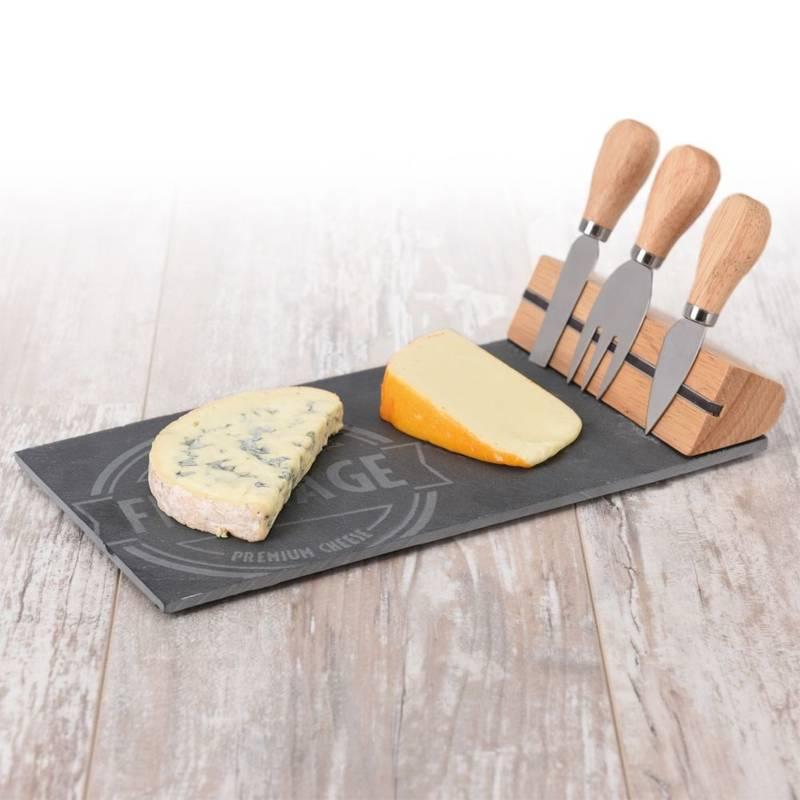 ORION Schneidebrett Servierbrett für Käse / KÄSEBRETT aus STEIN + 3 Käsemesser