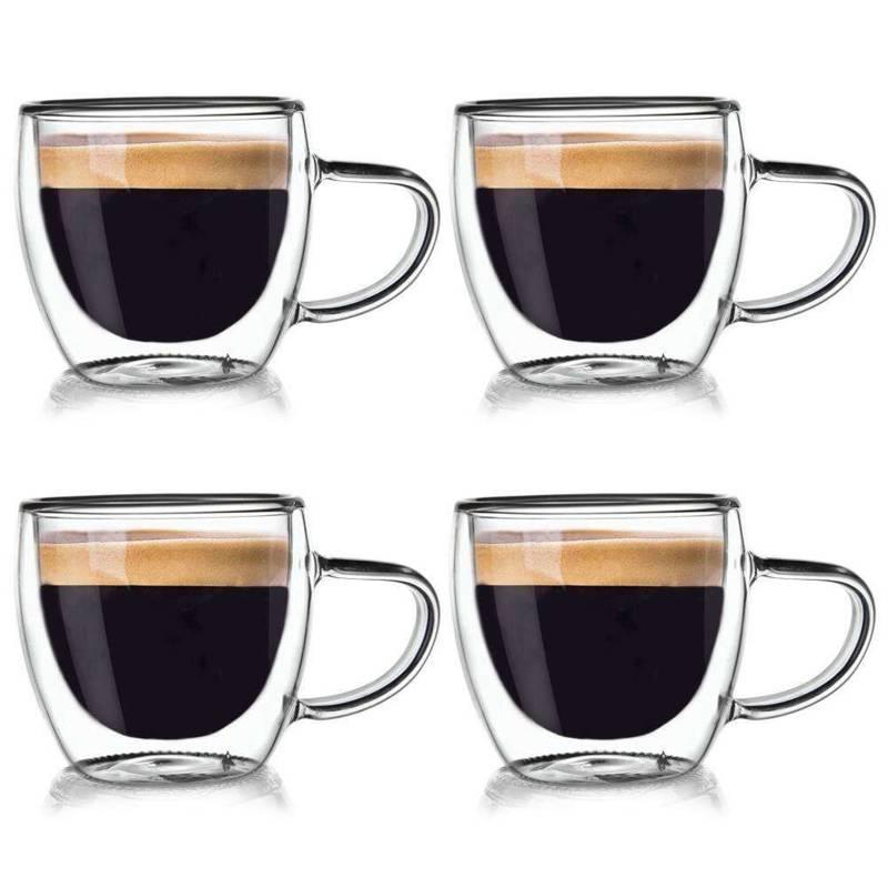 4x szklanka termiczna z podwójną ścianką do kawy, 110 ml