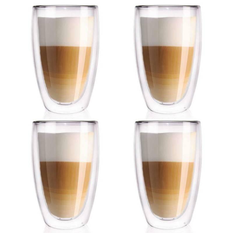 4x szklanka termiczna z podwójną ścianką do kawy, latte, 450 ml
