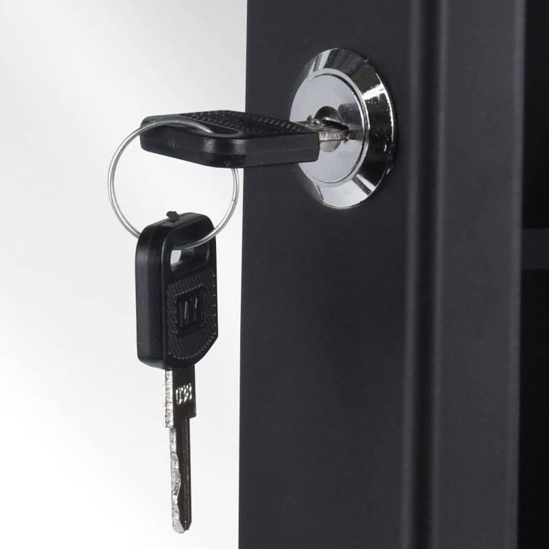 Apteczka metalowa, czarna, wisząca, ścienna, na ścianę, zamykana, na klucz, z lustrem, lusterkiem