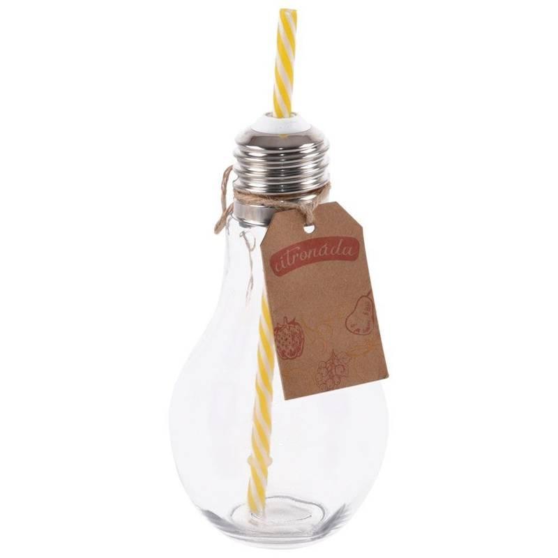 Butelka słoik kubek ze słomką ŻARÓWKA 0,35L