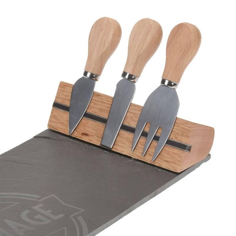 Deska do krojenia KAMIENNA serwowania SERÓW sera z nożami noże 3 szt.