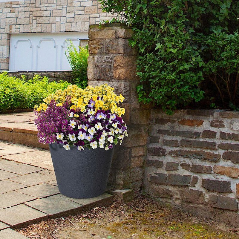 Doniczka, duża, donica okrągła ogrodowa, zewnętrzna, szara, 39 cm