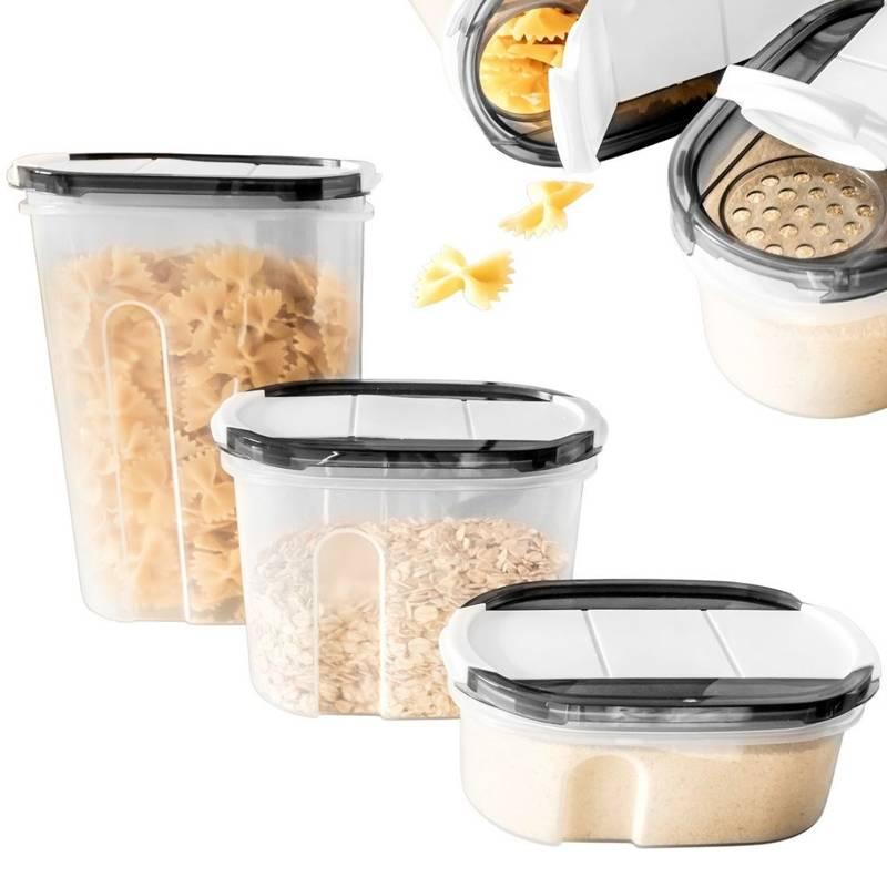 Komplet pojemników, pojemnik kuchenny na żywność, płatki, kasze, makaron, mąkę, cukier, produkty sypkie z dozownikiem, zestaw 3 szt.