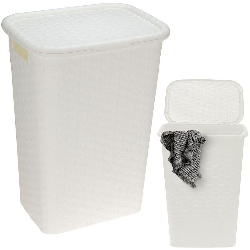 Kosz na pranie, pojemnik łazienkowy, odzież, bieliznę, z pokrywą, 60 l biały