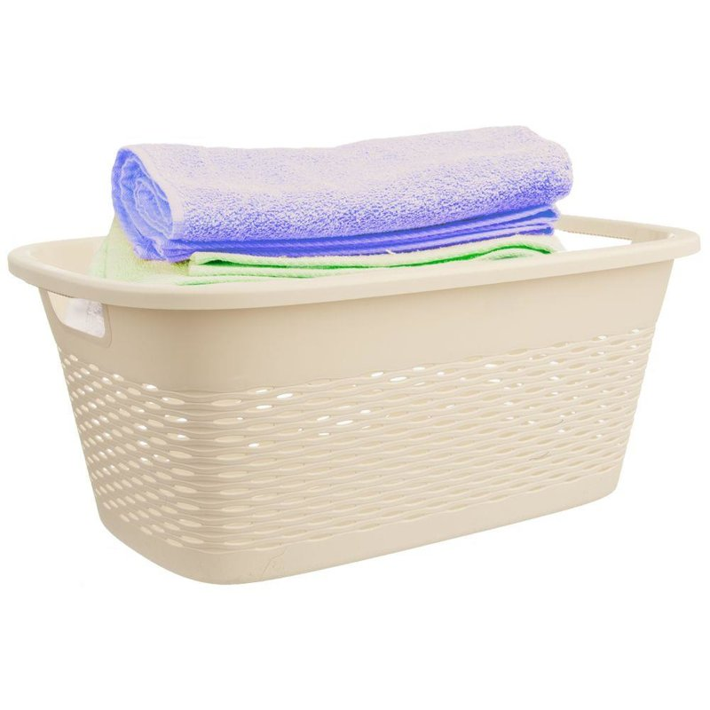 Kosz, pojemnik łazienkowy na pranie, odzież, bieliznę, miska, 29 l, beżowy