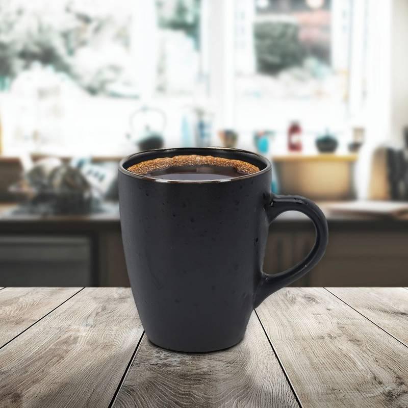 Kubek ceramiczny do kawy i herbaty, z uchem, czarny, 350 ml