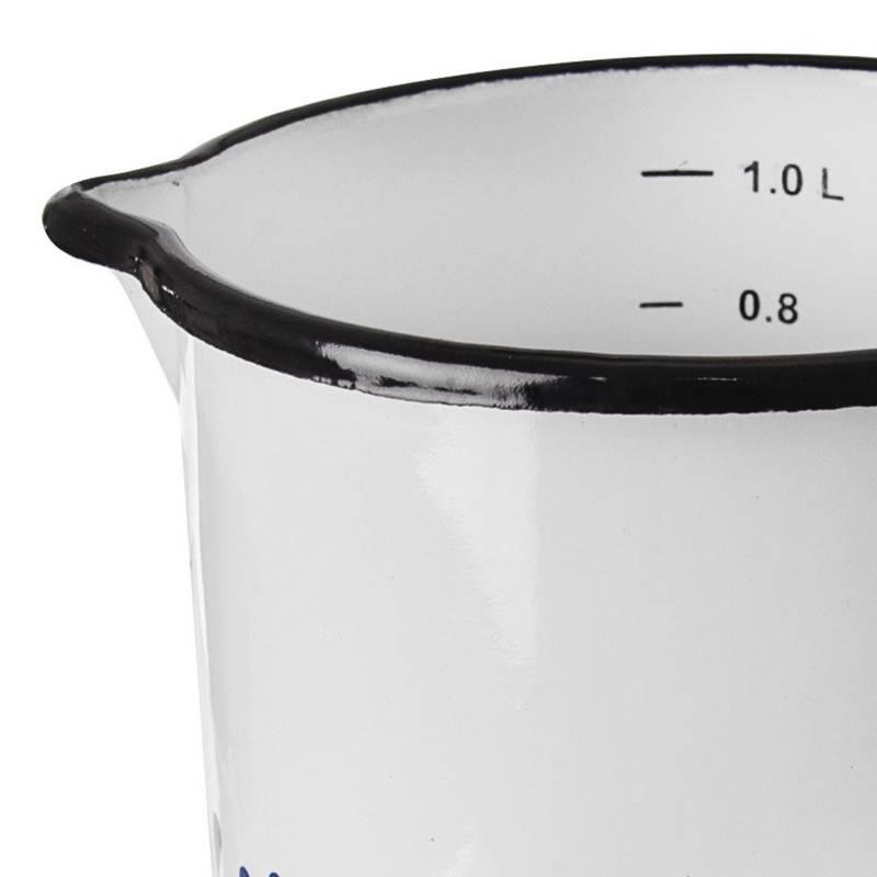 Kubek z miarką garnek emaliowany retro 12 cm 1,2L