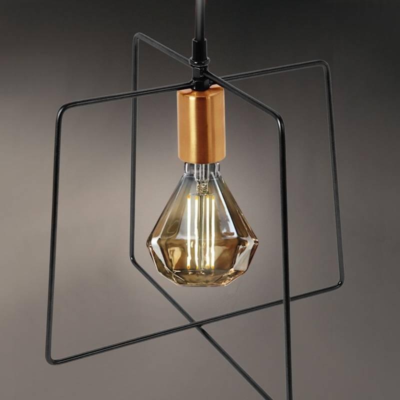 Lampa metalowa, wisząca, sufitowa, czarna złota, oprawka, oprawa, obudowa, żarówki