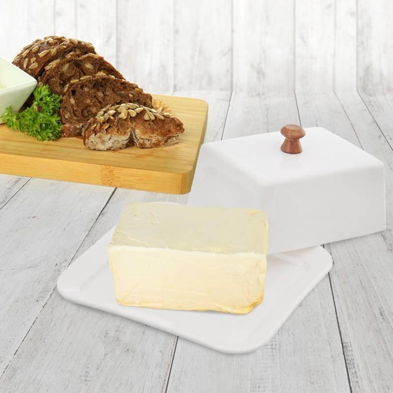 Maselniczka porcelanowa, biała, z pokrywką, maselnica, pojemnik na masło