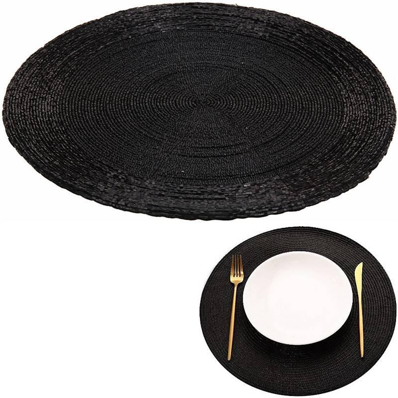 Mata kuchenna czarna na stół, podkładka pod talerz, sztućce, okrągła 30 cm