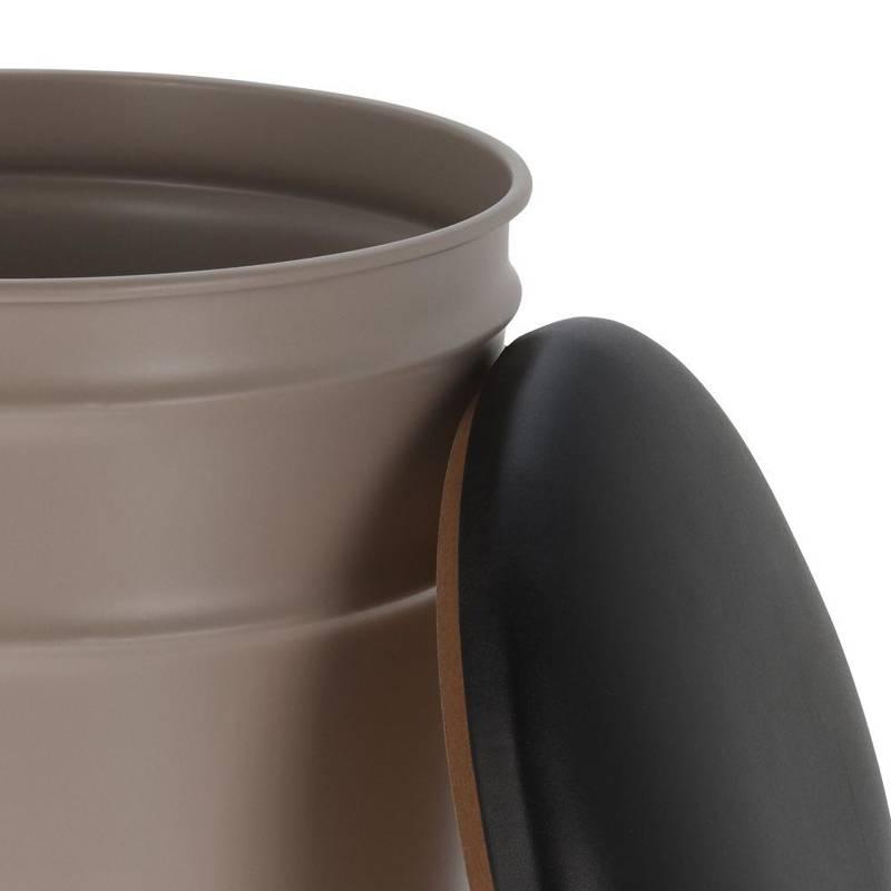 Metalowa pufa z otwieranym siedziskiem, podnóżek, siedzisko, stołek, szary, czarny, wygodny, retro