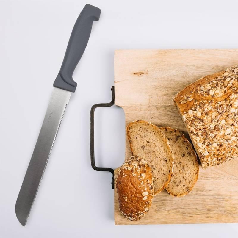 Nóż kuchenny stalowy do chleba, pieczywa, bagietek, z ząbkami, 34 cm