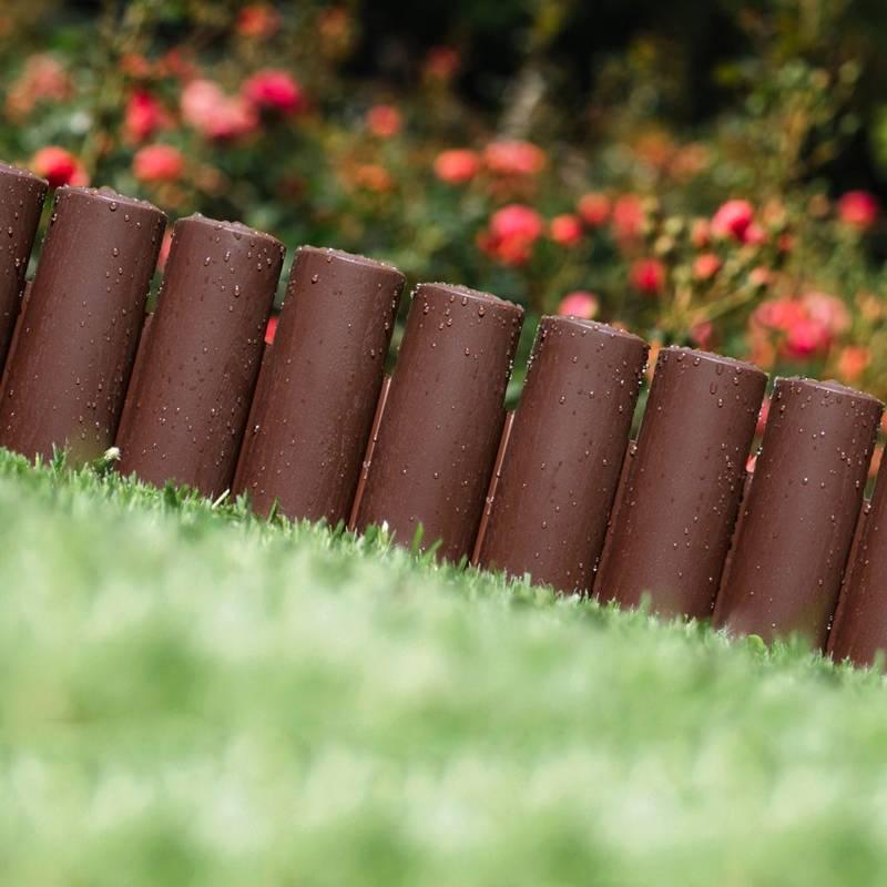 Palisada ogrodowa, obrzeże, płotek ogrodowy do grządek, trawnika, 2,5m, brązowy
