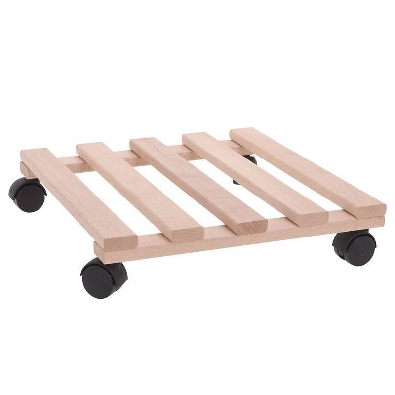 Podstawka drewniana, kwadratowa, podstawa pod donicę, doniczkę, na kółkach, do przesuwania, 35x35 cm