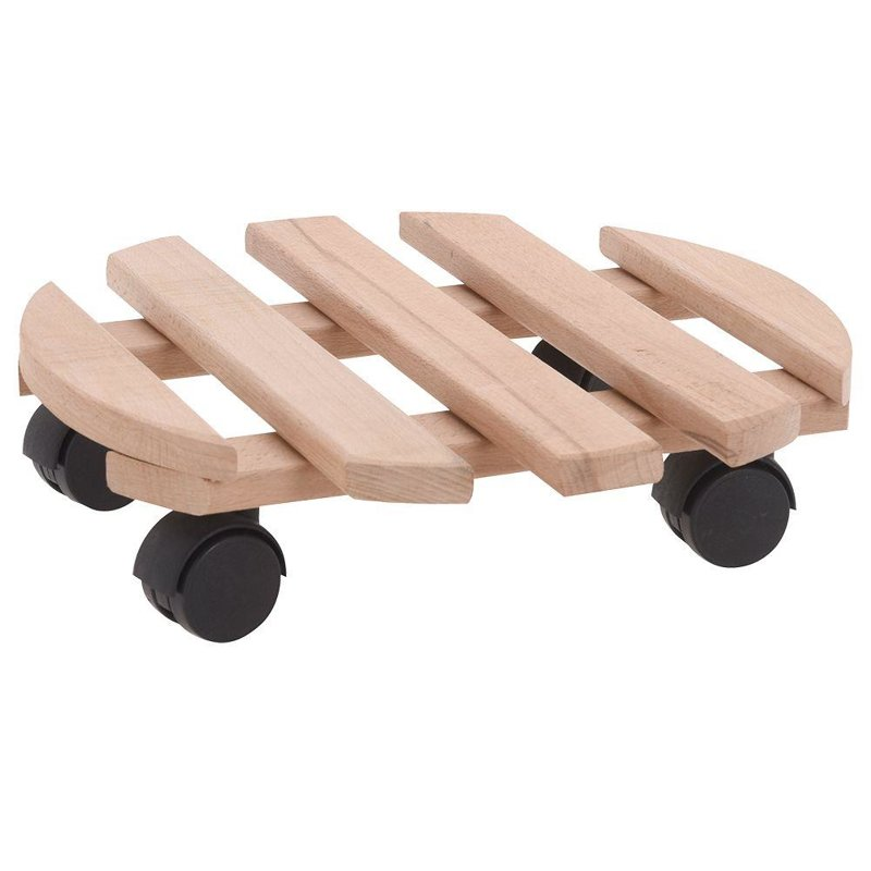 Podstawka drewniana okrągła, podstawa pod donicę, doniczkę, na kółkach, do przesuwania, 30 cm