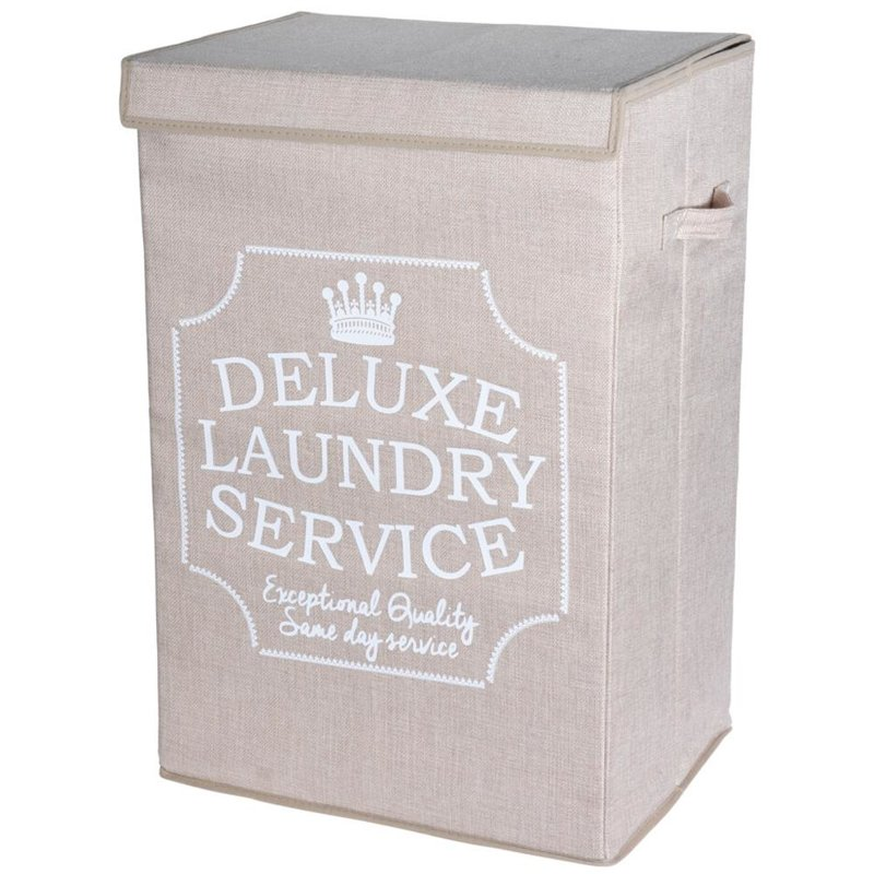 Pojemnik, kosz na pranie, bieliznę, składany, łazienkowy, 70 l, beżowy
