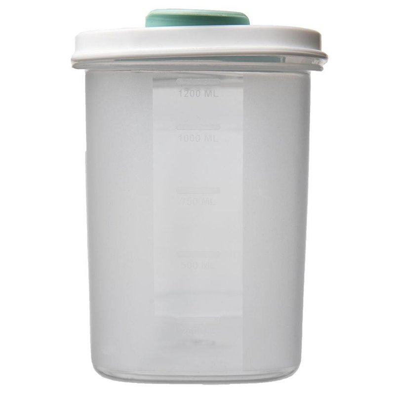 Pojemnik kuchenny na żywność, płatki, kasze, makaron, mąkę, cukier, produkty sypkie, z dozownikiem i miarką, 1,2 l