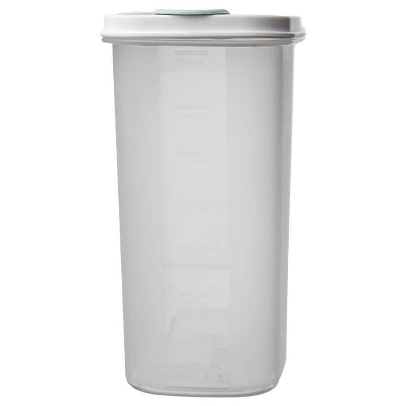 Pojemnik kuchenny na żywność, płatki, kasze, makaron, mąkę, cukier, produkty sypkie, z dozownikiem i miarką, 1,8 l