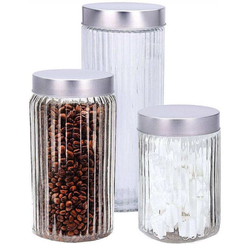Pojemnik szklany kuchenny, słój, słoik na makaron, płatki, kawę, produkty sypkie, zestaw, komplet pojemników, 3 sztuki