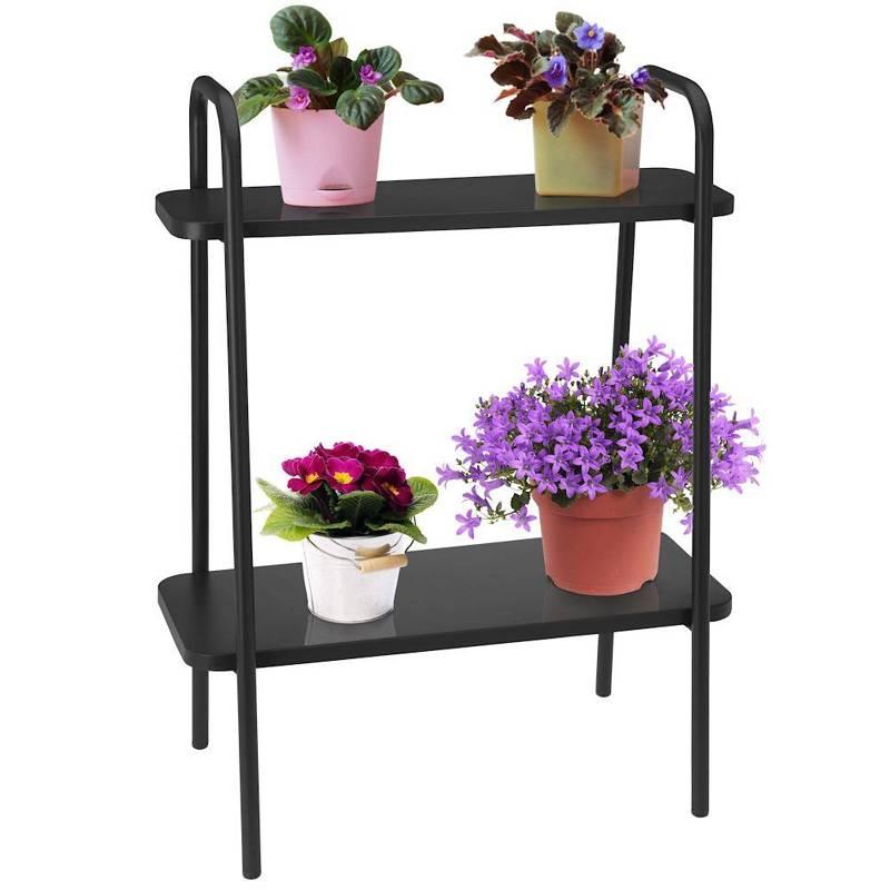 Półka, regał, kwietnik metalowy, stojak na doniczki, rośliny, zioła, kwiaty, 2-poziomowy