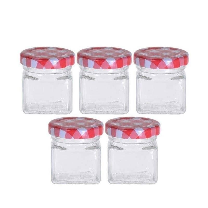 Słoik pojemnik szklany na dżem marmoladę miód przyprawy 50 ml zestaw słoików 5 sztuk