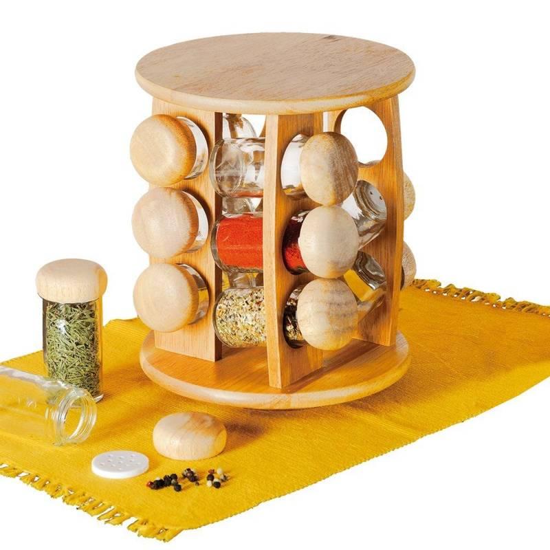 Stojak obrotowy na przyprawy półka przyprawnik organizer + pojemniki słoiki 12 sztuk