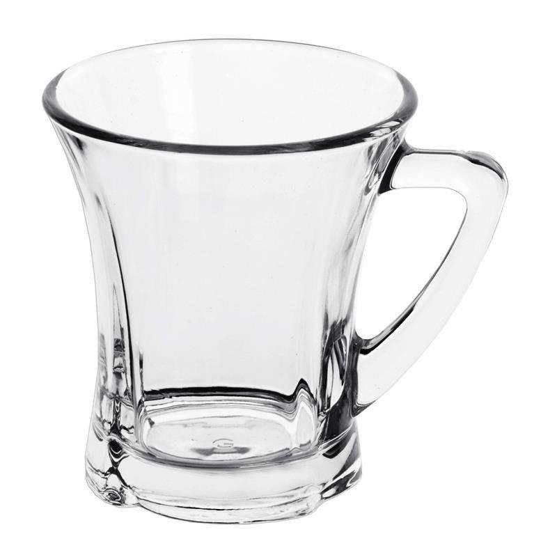 Szklanka z uchem kubek szklany do kawy herbaty zestaw komplet szklanek 220 ml 6 sztuk