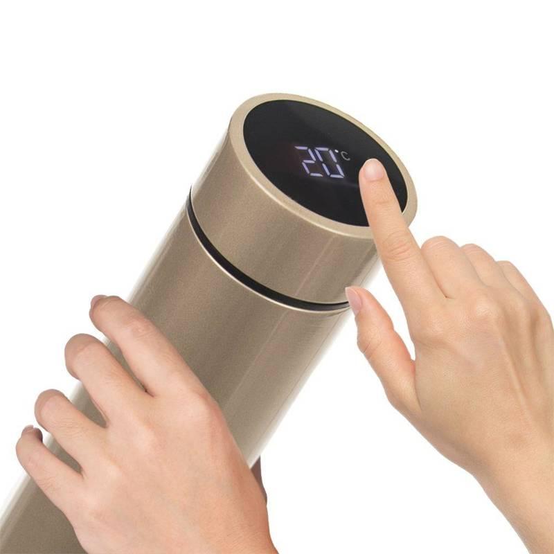 Termos stalowy z termometrem, kubek termiczny, bidon, 0,45 l, złoty