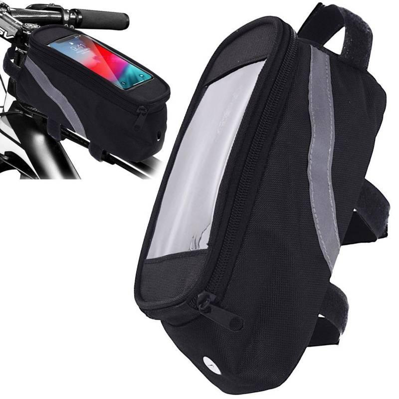 Torba na rower, ramę, rowerowa, podwójna, sakwa, wodoodporna, etui na telefon, smartphone, 1 l