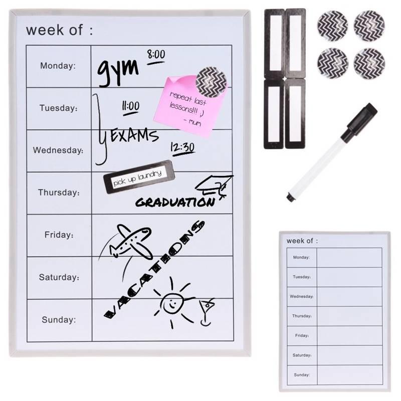 Tygodniowy planer dnia, biała tablica suchościeralna z dniami tygodnia, magnetyczna, wisząca