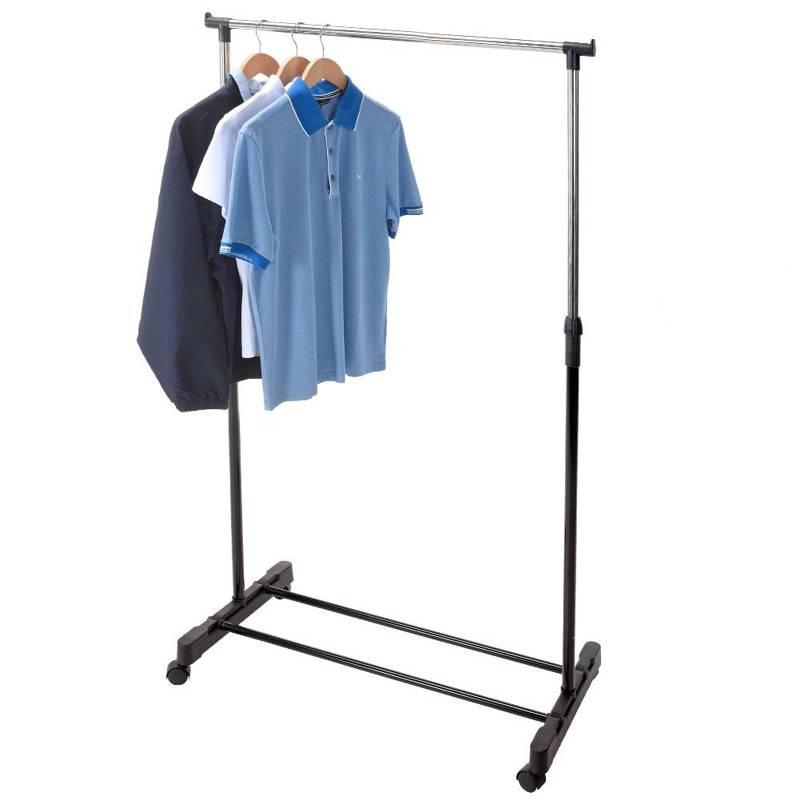 Wieszak na ubrania na kółkach, stojak podłogowy, garderoba, 80x43x160 cm
