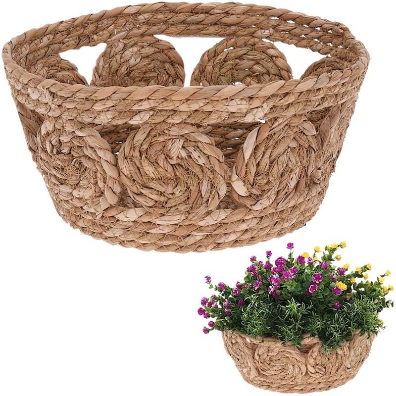 Coș, coș țesut din iarbă de mare pentru depozitare, pentru obiecte mici, cosmetice, capac de ghiveci, plante, 30x15 cm