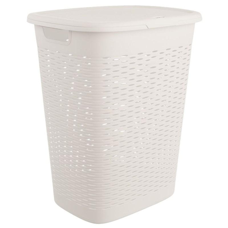 Coș, recipient de baie pentru rufe, haine, lenjerie de corp, cu capac, 47 l, alb