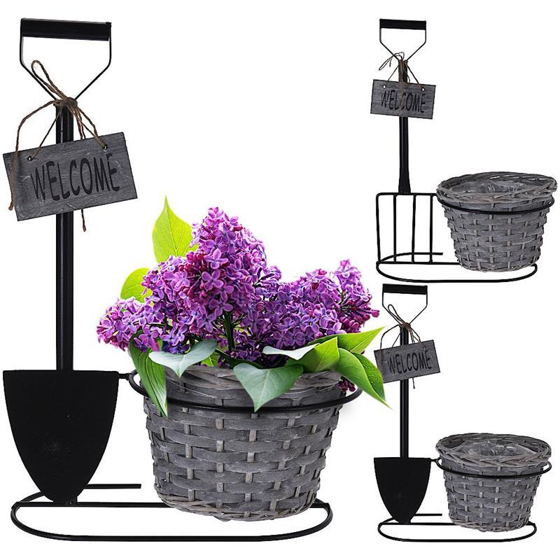 Ghiveci de flori, capac de protecție pe suport metalic, ghiveci de flori pentru plante, ierburi aromatice