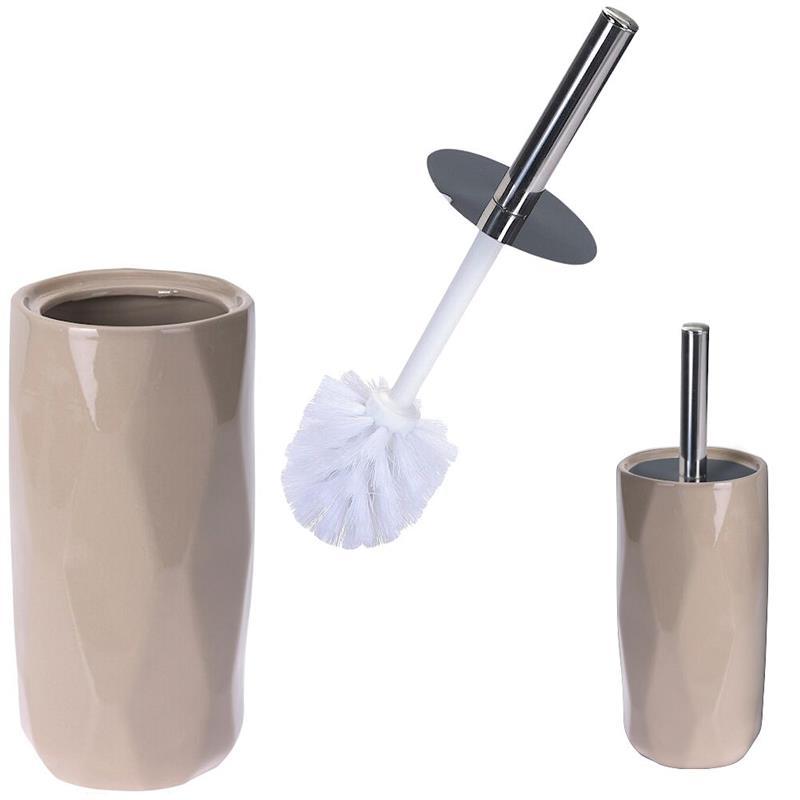 Perie de baie pentru toaletă, WC, baie, ceramică + bol, cu bol, bej