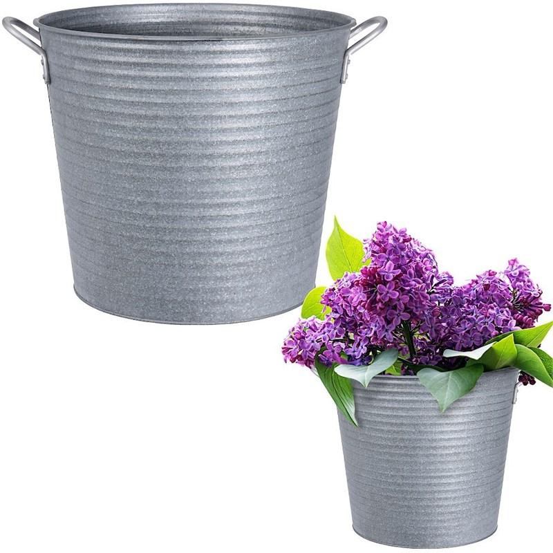 Protector, ghiveci metalic pentru plante, flori, ierburi, găleată, zinc, 32x28 cm