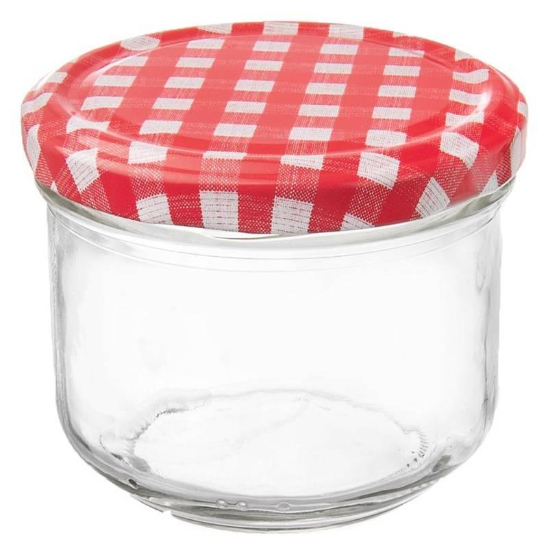Borcan de sticlă cu capac pentru conserve, gem, conserve, condimente, 0,26 l