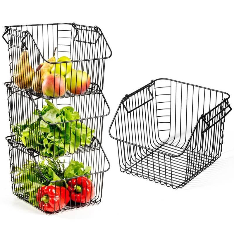 Coș pentru fructe și legume, metal, negru, stivuire 29x27x21 cm