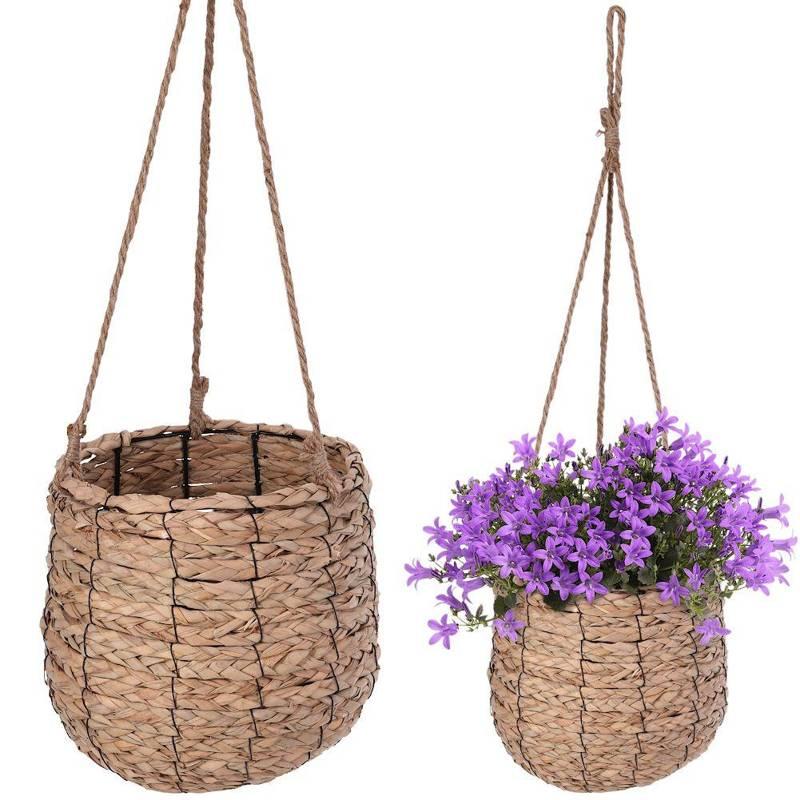 Ghiveci de flori, capac de agățat țesut, suport de plante agățat boho, floare, 26 cm