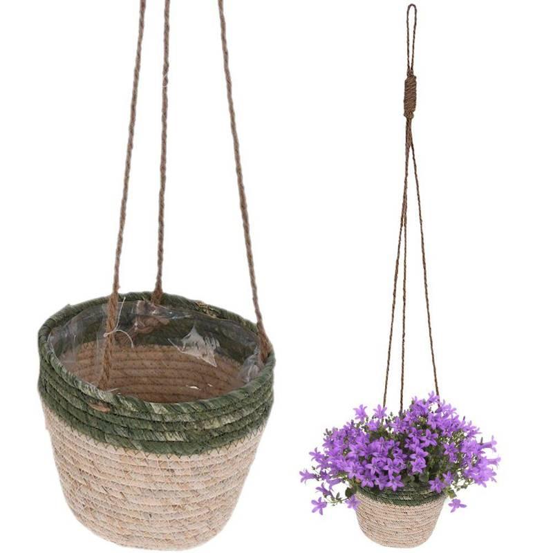 Ghiveci de flori, copertă suspendată țesută, coș de plante suspendate boho, floare, 18 cm
