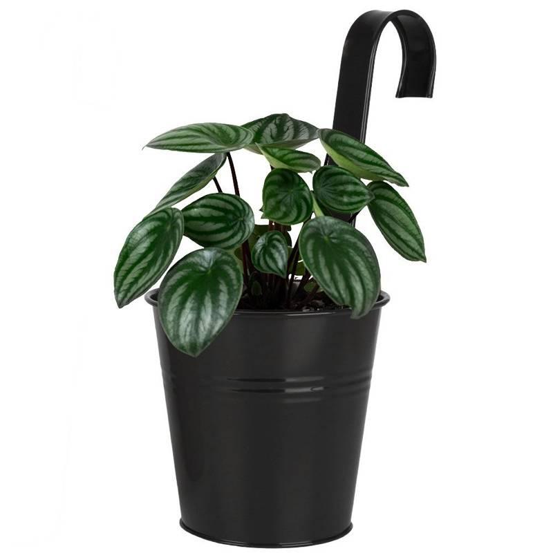 Ghiveci de flori, protecție pentru balcon și terasă, agățat, suport pentru ghiveci de flori, negru