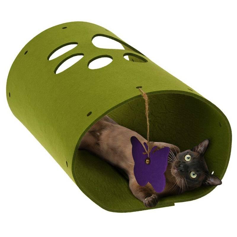 Jucărie, tunel pentru pisici cu fluture, pentru joacă 25x45 cm